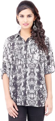 Pear Blossom Women's Animal Print Casual White Shirt