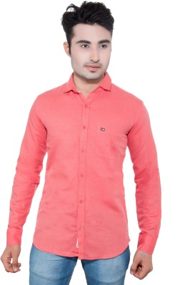 GreyBooze Men's Solid Casual Linen Pink Shirt
