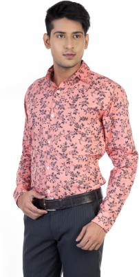 Monk Collection Men's Printed Casual Pink Shirt