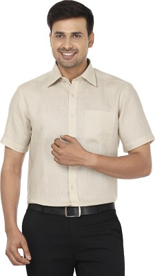 Wills Lifestyle Men's Solid Formal Linen Beige Shirt