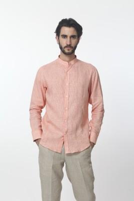 Yell Men's Solid Casual Linen Orange Shirt
