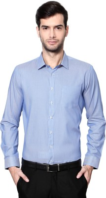 Van Heusen Men's Striped Casual Blue Shirt