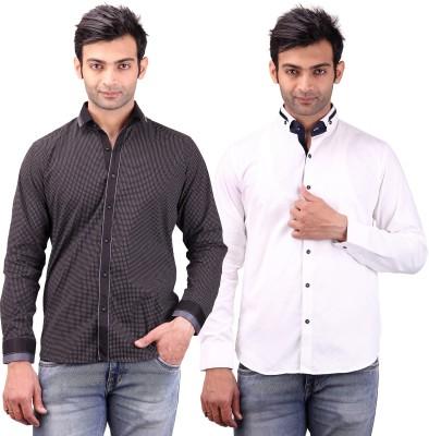 Clubstone Men's Self Design Formal Black, White Shirt