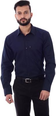 Cotton Treat Men's Solid Casual Dark Blue Shirt