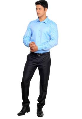 Green Bows Men's Solid Formal Light Blue Shirt
