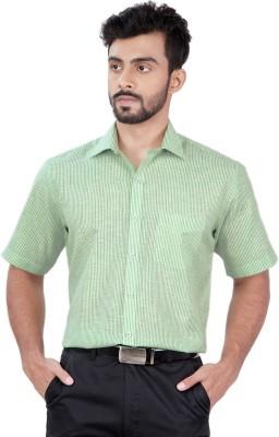 Zeal Men's Striped Formal Linen Light Green, White Shirt
