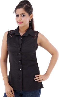 Fille Divin Women's Solid Casual Black Shirt