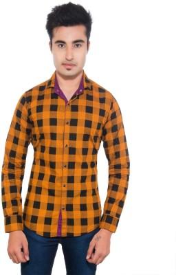Goodkarma Men's Self Design Casual Orange, Black Shirt