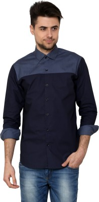 See Designs Men's Solid Casual Reversible Blue, White Shirt