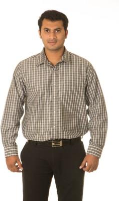 West Vogue Men's Checkered Formal Grey Shirt