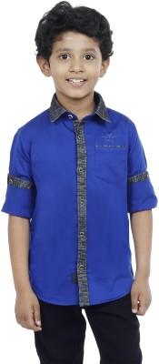 OKS Boys Boy's Solid Casual Dark Blue Shirt