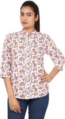 Kiosha Women's Floral Print Casual Pink Shirt