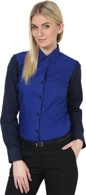 Dazzio Womens Solid Formal Dark Blue, Light Blue Shirt