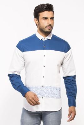 ROYALION Men's Printed Casual White Shirt