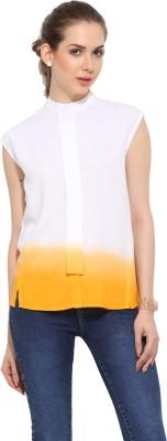 Leo Sansini Women's Solid Casual Orange, White Shirt