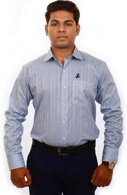 Iconic Men's Self Design Formal Blue Shirt