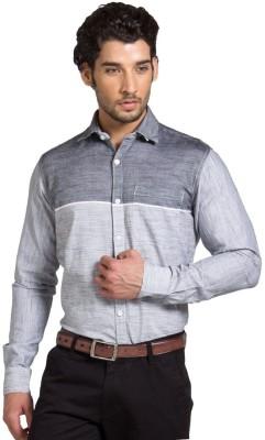 Klub Fox Men's Striped Casual Grey Shirt