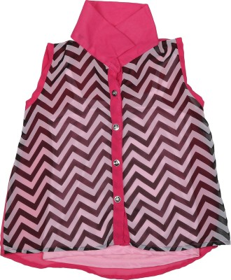 Addyvero Girl's Printed Casual Pink, Black Shirt