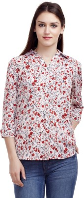 MASK lifestyle Women's Floral Print Casual White Shirt