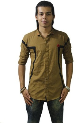 Fisheye Men's Self Design Casual Brown Shirt