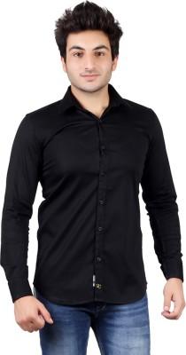 UNDERCUT Men's Self Design Casual Black Shirt