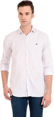 Camrick Men,s Printed Casual White Shirt