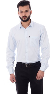 Cotton Treat Men's Solid Casual Light Blue Shirt