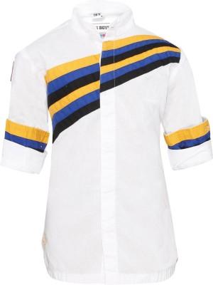 OKS Boys Boy's Solid Casual White Shirt