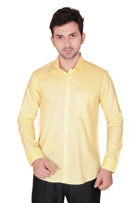Fabrobe Men's Self Design Formal Yellow Shirt