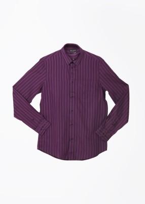 Arrow Newyork Men's Striped Casual Black, Purple Shirt