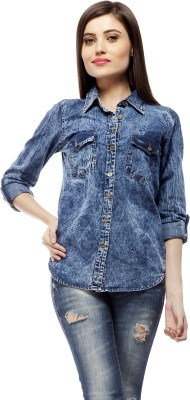 Stylestone Women's Solid Casual Denim Blue Shirt
