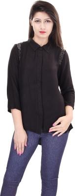 OVIYA Women,s Solid Casual Black Shirt
