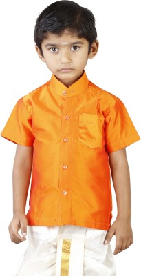 kaatru Boy's Self Design Wedding Orange Shirt