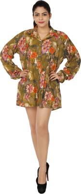 Chic Fashion Women's Floral Print Formal Brown, Orange Shirt