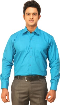 Seven Days Men's Self Design Formal Blue Shirt