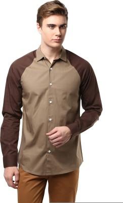 Atorse Men's Solid Casual Beige Shirt