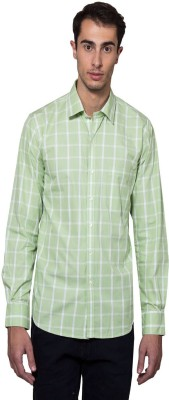 Lee Marc Men's Checkered Casual Light Green, White Shirt