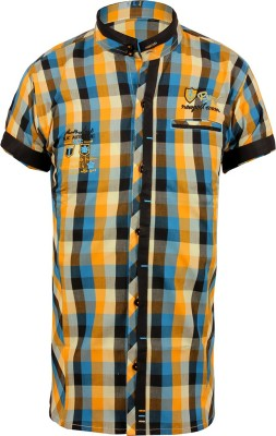 Jazzup Boy's Checkered Casual Yellow Shirt