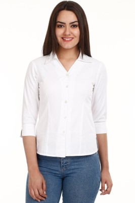 Protext Premium Women's Solid Casual White Shirt