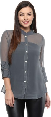 Pinwheel Women's Solid Casual Grey Shirt