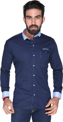 Royal Front Men's Solid Formal, Casual, Party, Festive, Wedding Blue Shirt