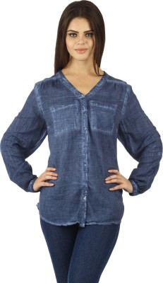 Uptown Galeria Women's Solid Casual Blue Shirt