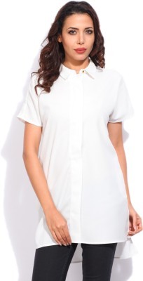 Vanheusen Womens Solid Casual White Shirt