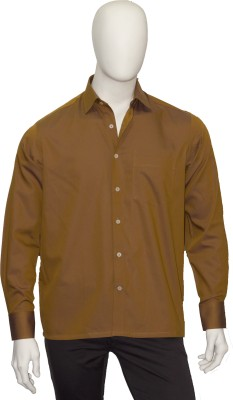 Cotton Natural Men's Solid Formal Brown Shirt