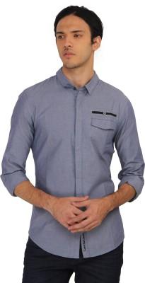 Calvin Klein Men's Printed Casual Blue Shirt