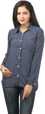 Bizzare Couture Women's Polka Print Formal Blue Shirt