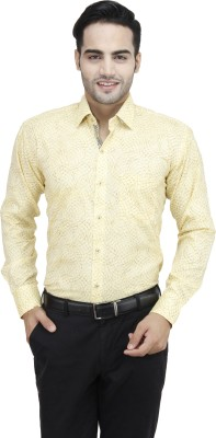 Da Vinci Men's Printed Casual Yellow Shirt