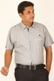 Ignu Men's Striped Casual Grey Shirt