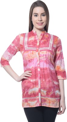 Florrie Fusion Women's Printed Casual Pink Shirt