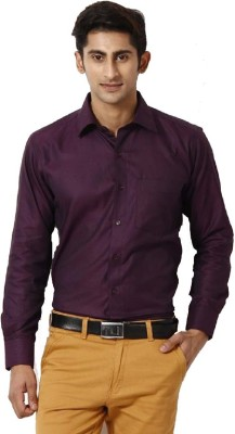 Rv Collection Men's Solid Casual Purple Shirt